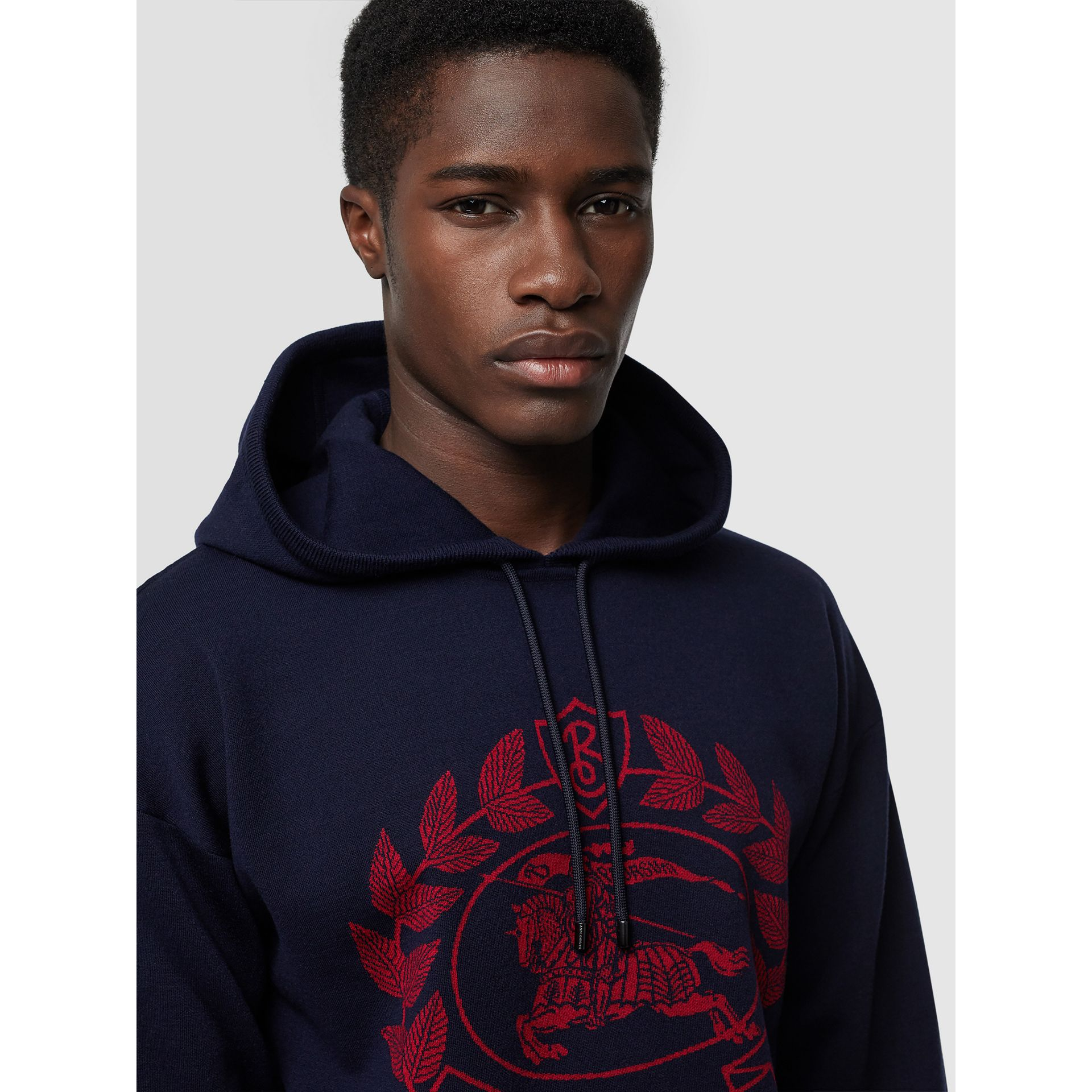Crest Merino Wool Blend Jacquard Hoodie in Navy - Men | Burberry - gallery image 1