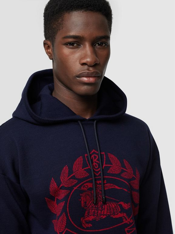 Crest Merino Wool Blend Jacquard Hoodie in Navy - Men | Burberry - cell image 1