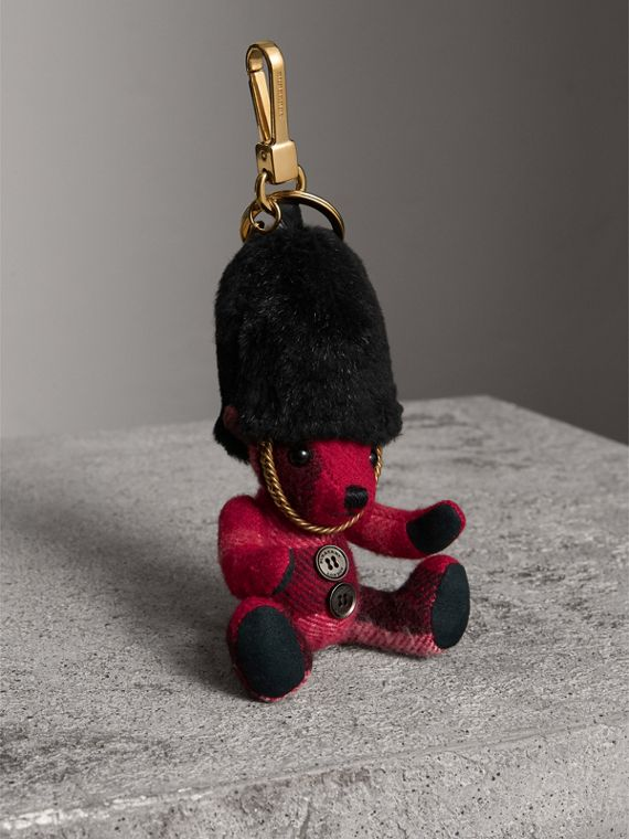 The Guardsman Thomas Bear Charm in Check Cashmere in Parade Red