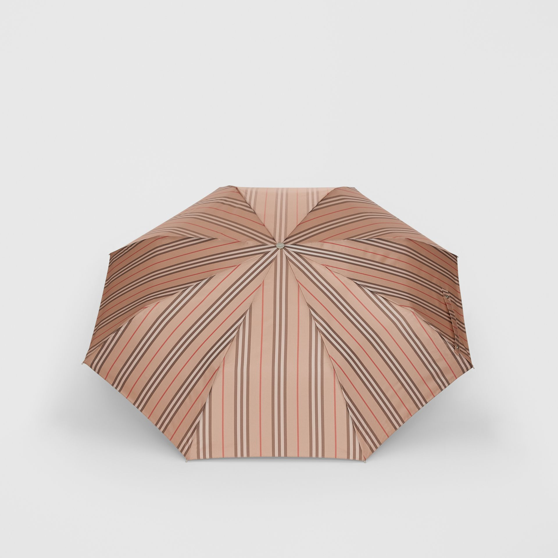 Icon Stripe Folding Umbrella in Camel | Burberry - gallery image 4