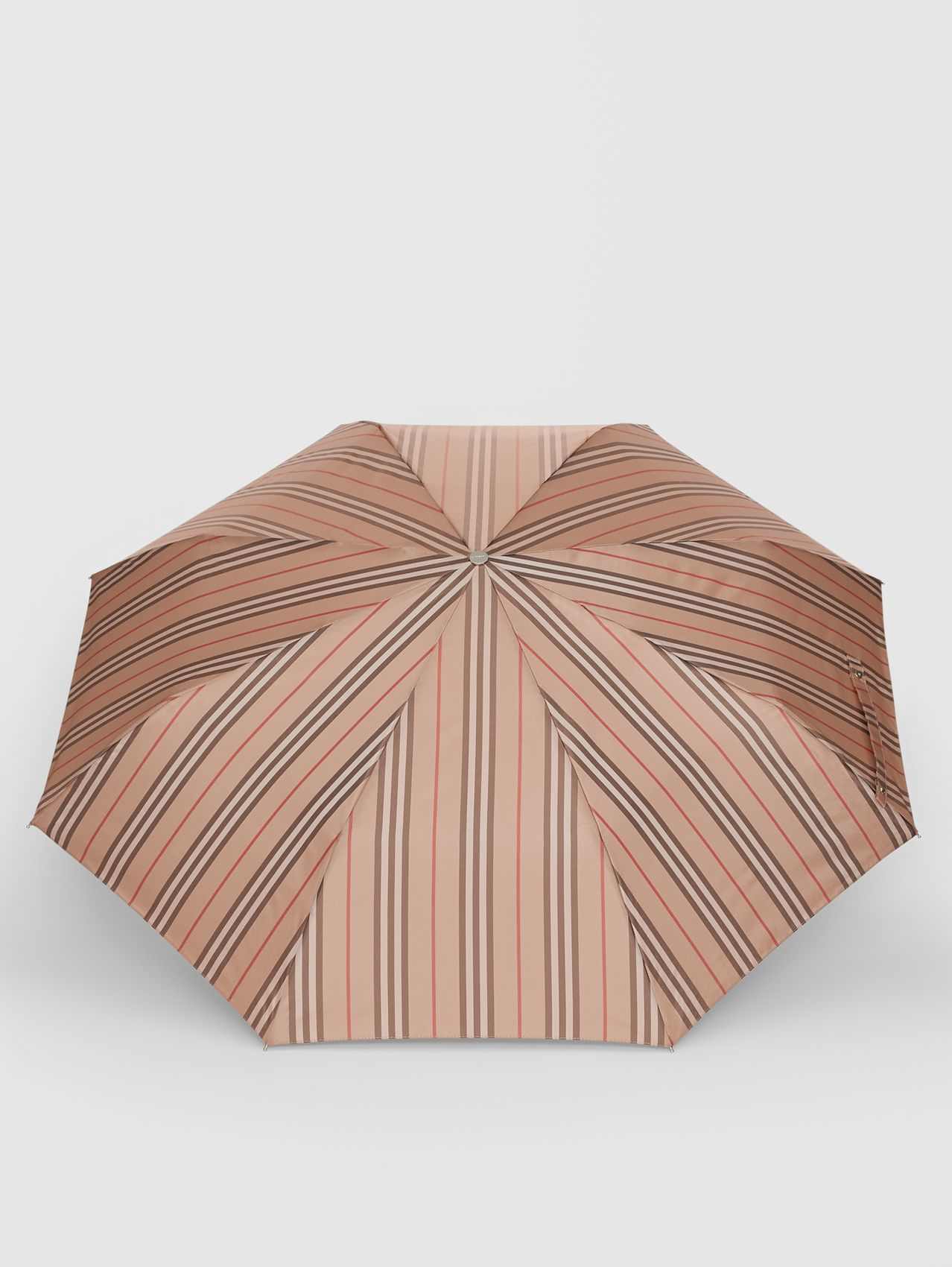 Icon Stripe Folding Umbrella in Camel