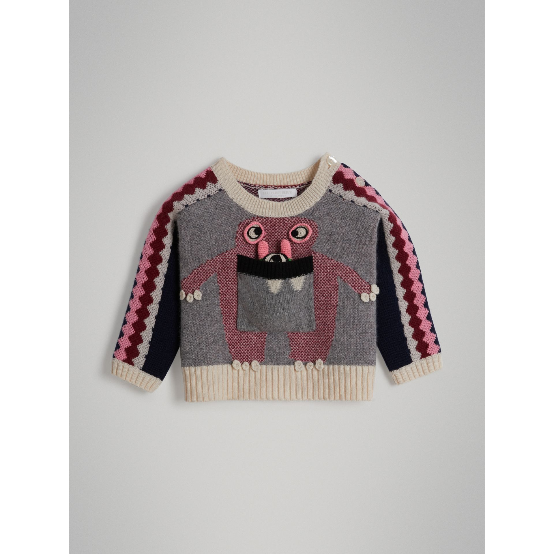 Monster Cashmere Jacquard Sweater in Grey Melange - Children | Burberry - gallery image 0