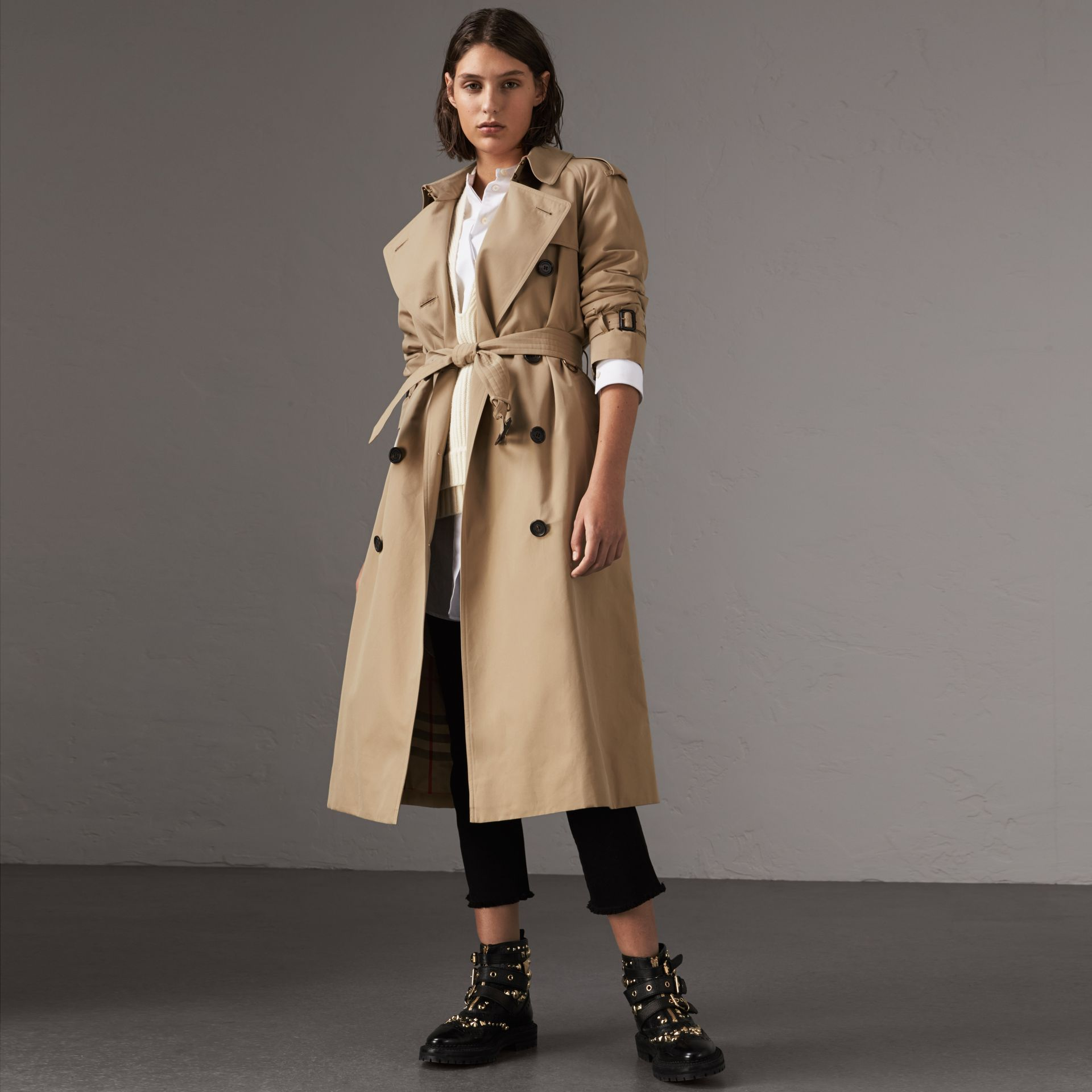 the westminster extra long trench coat in honey women burberry united kingdom. Black Bedroom Furniture Sets. Home Design Ideas