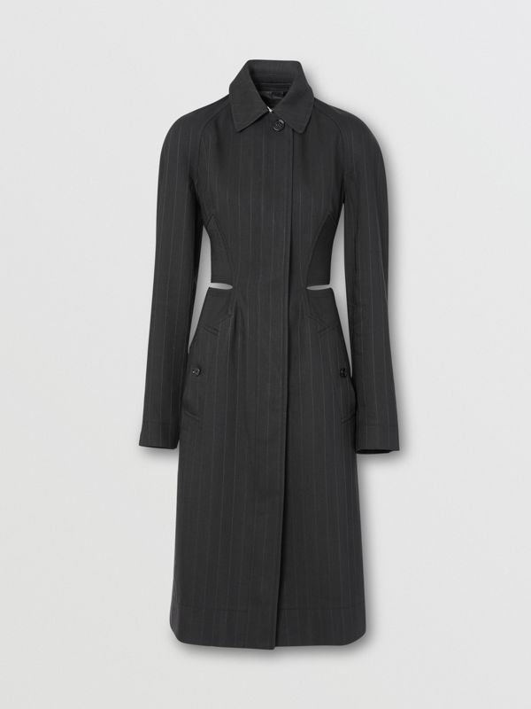 Pinstriped Technical Twill Reconstructed Car Coat in Black - Women | Burberry - cell image 3