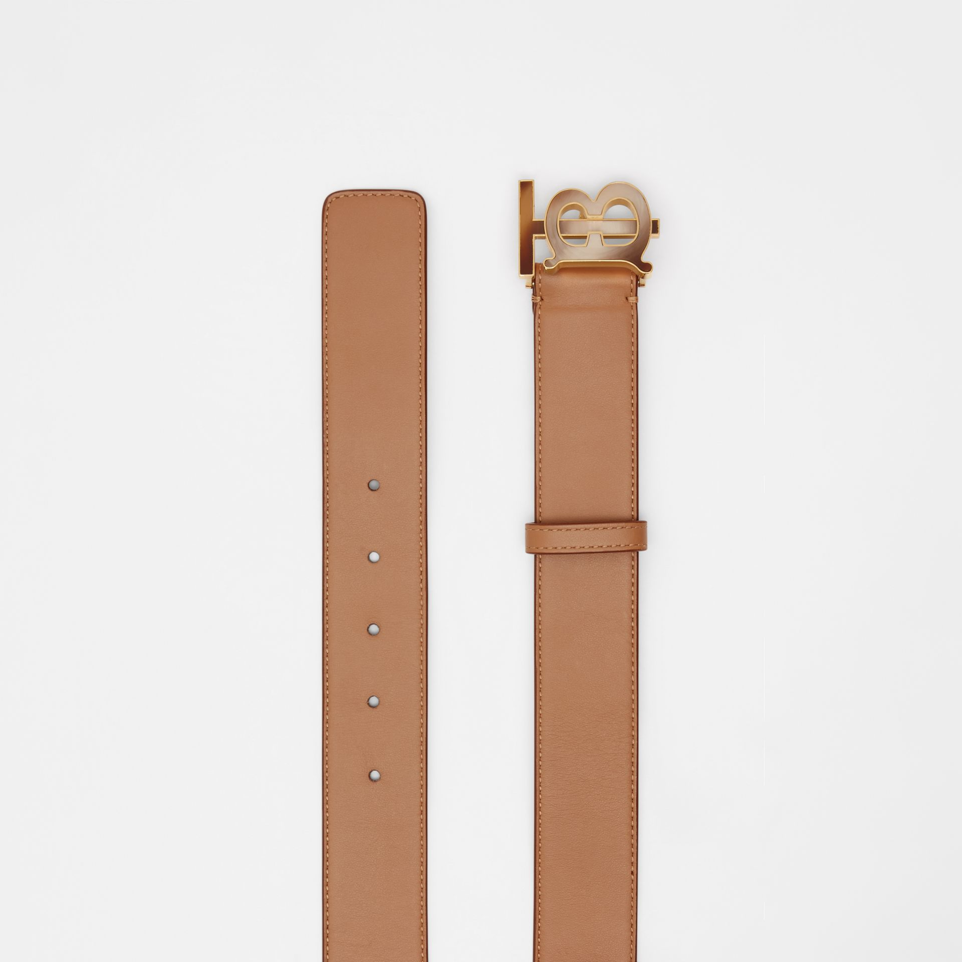 Monogram Motif Leather Belt in Light Camel - Women | Burberry - gallery image 4