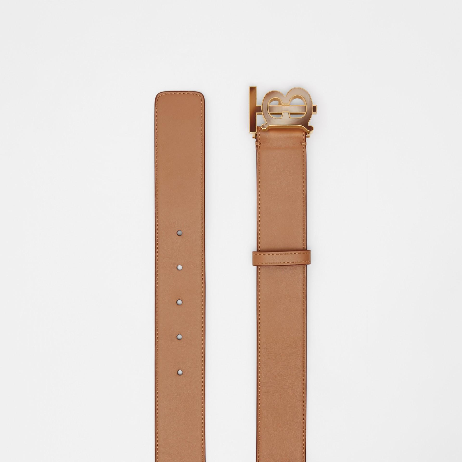 Monogram Motif Leather Belt in Light Camel - Women | Burberry United Kingdom - gallery image 4