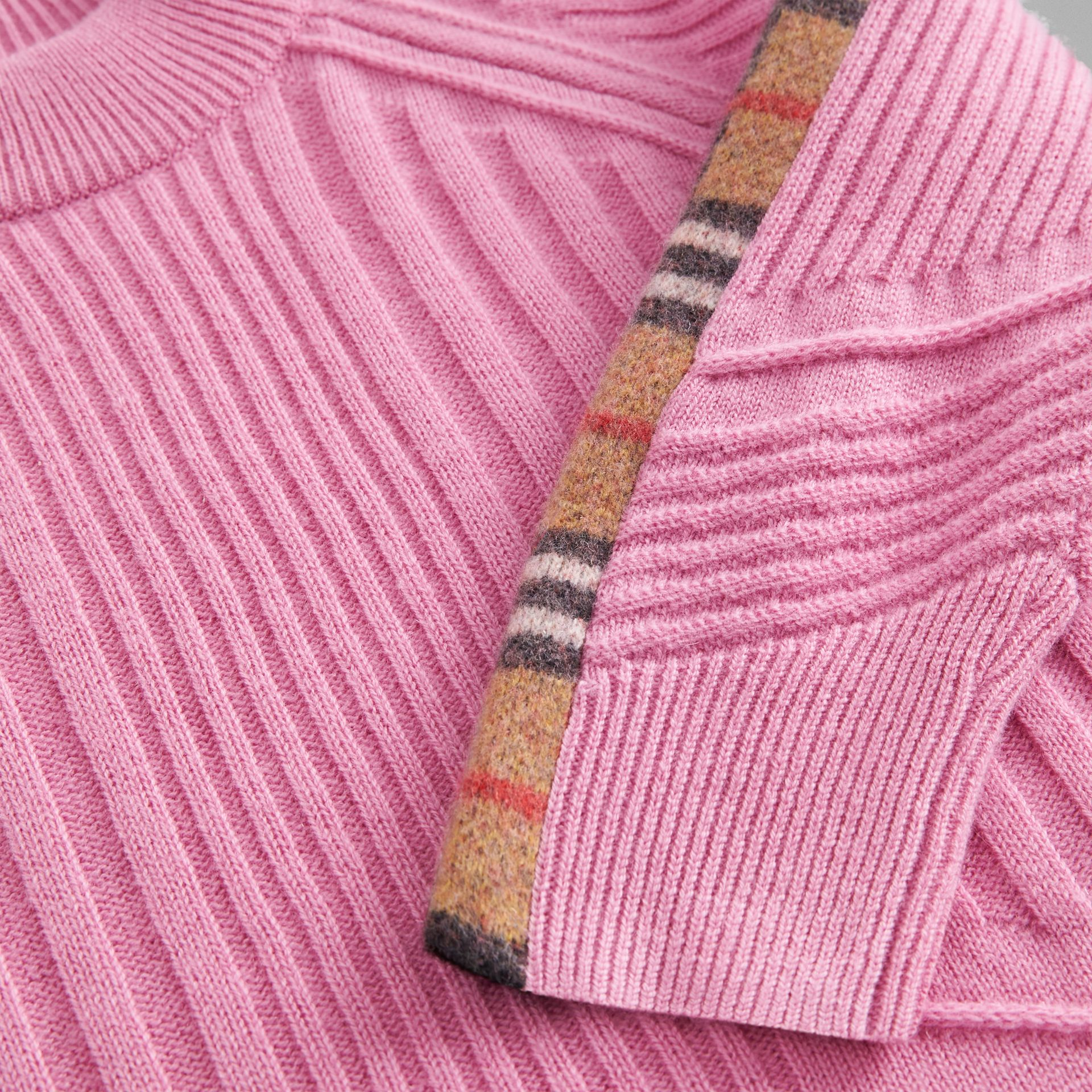 Check Detail Wool Cashmere Sweater in Rose Pink | Burberry United Kingdom - gallery image 1