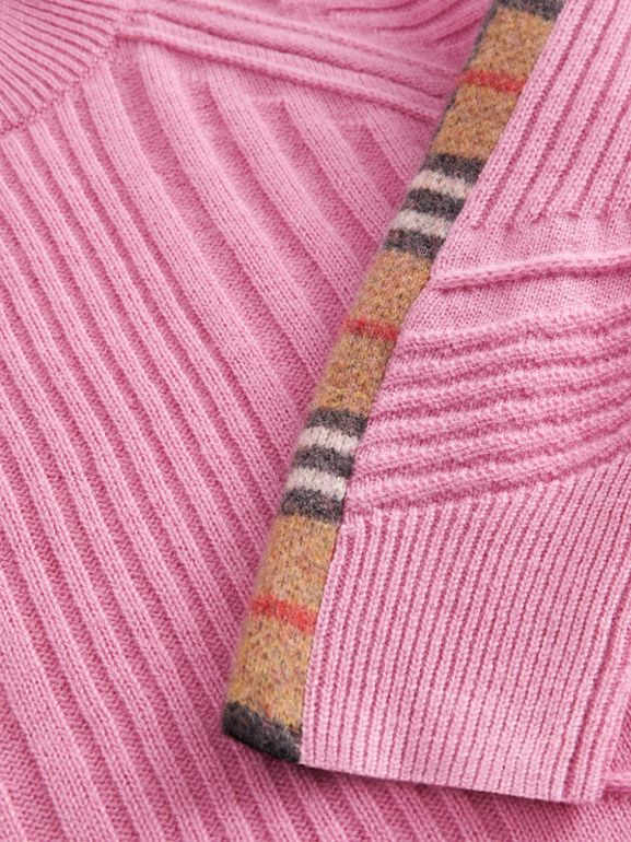 Check Detail Wool Cashmere Sweater in Rose Pink | Burberry Singapore - cell image 1