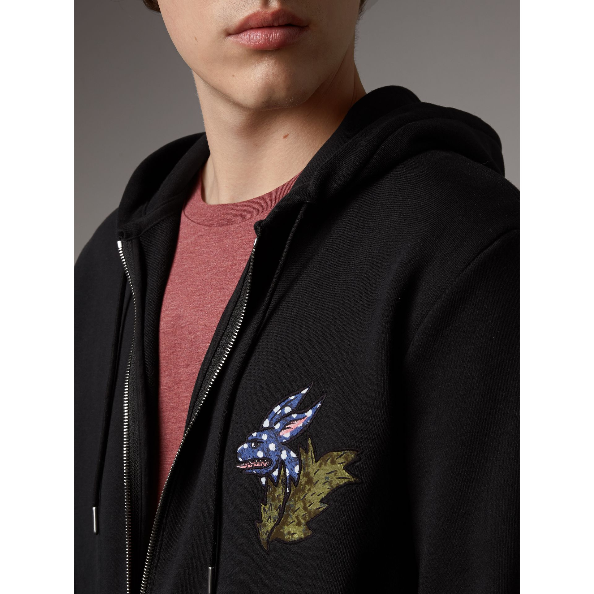 Beasts Motif Cotton Hooded Top in Black - Men | Burberry - gallery image 2