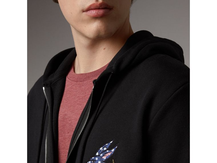 Beasts Motif Cotton Hooded Top in Black - Men | Burberry - cell image 1