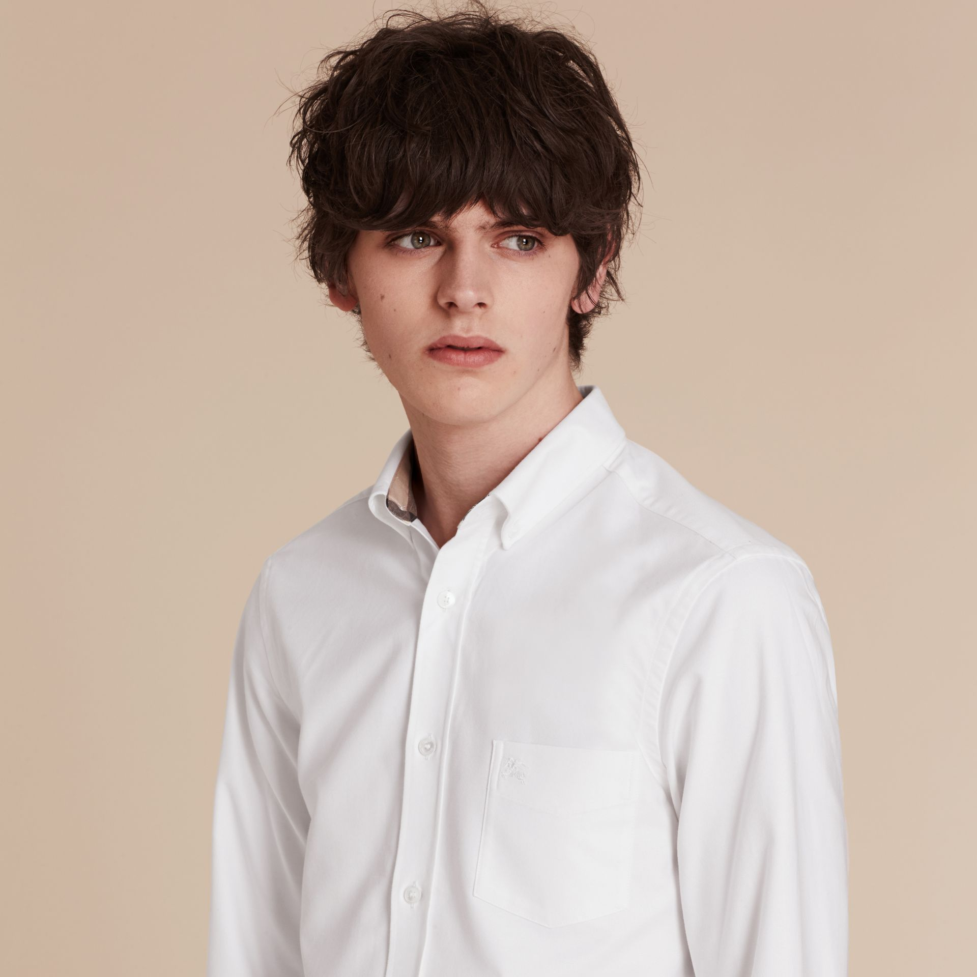Check Detail Cotton Oxford Shirt White - gallery image 5