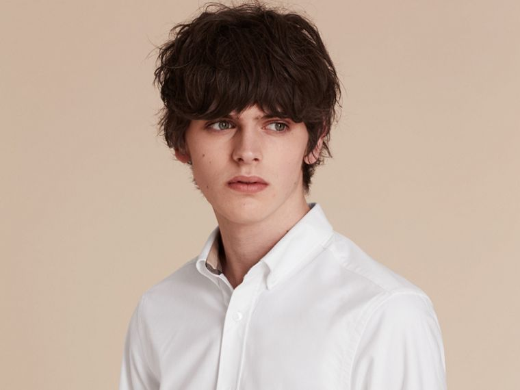 Check Detail Cotton Oxford Shirt in White - Men | Burberry - cell image 4
