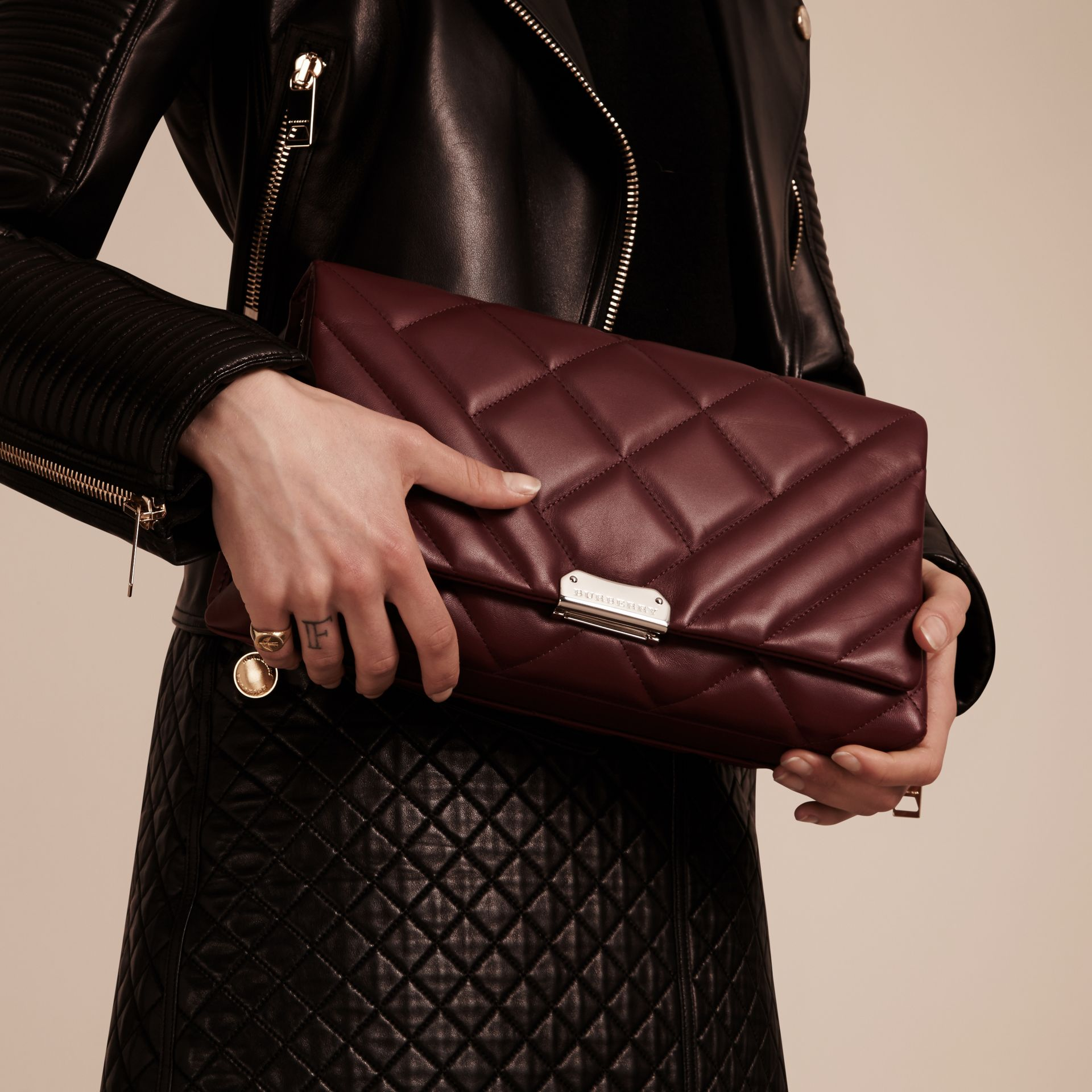 Dark damson Medium Quilted Leather and House Check Clutch Bag - gallery image 4