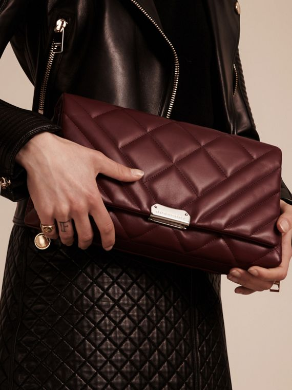 Dark damson Medium Quilted Leather and House Check Clutch Bag - cell image 3