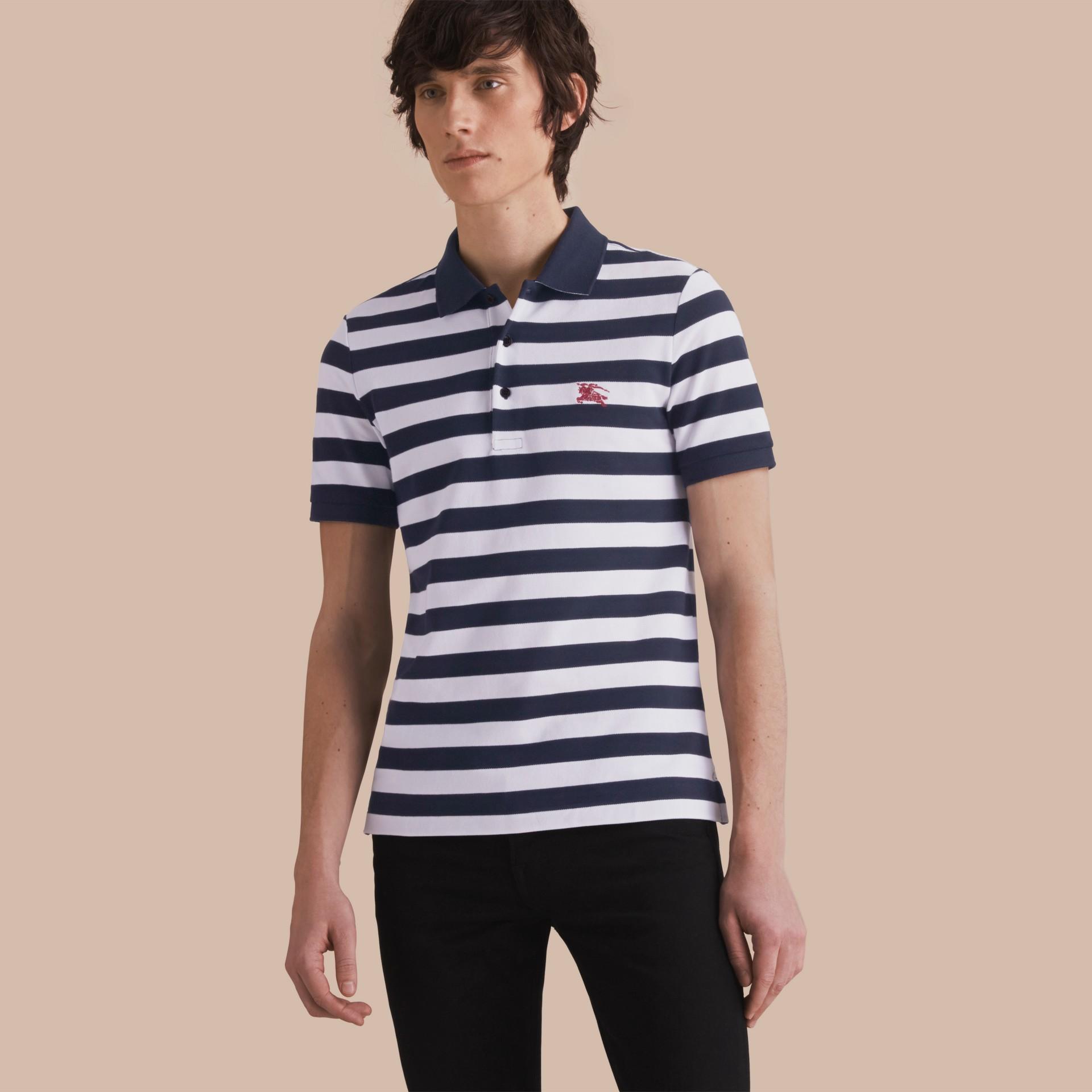 Striped Cotton Polo Shirt White/navy - gallery image 1