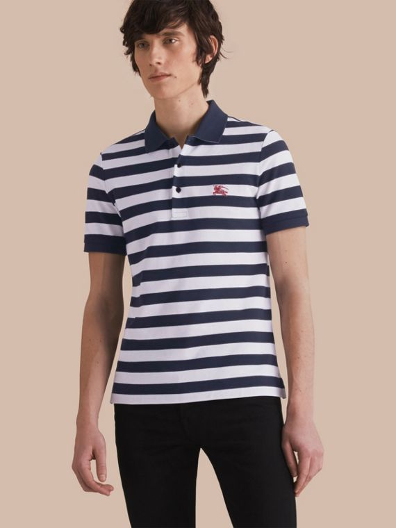 Striped Cotton Polo Shirt White/navy