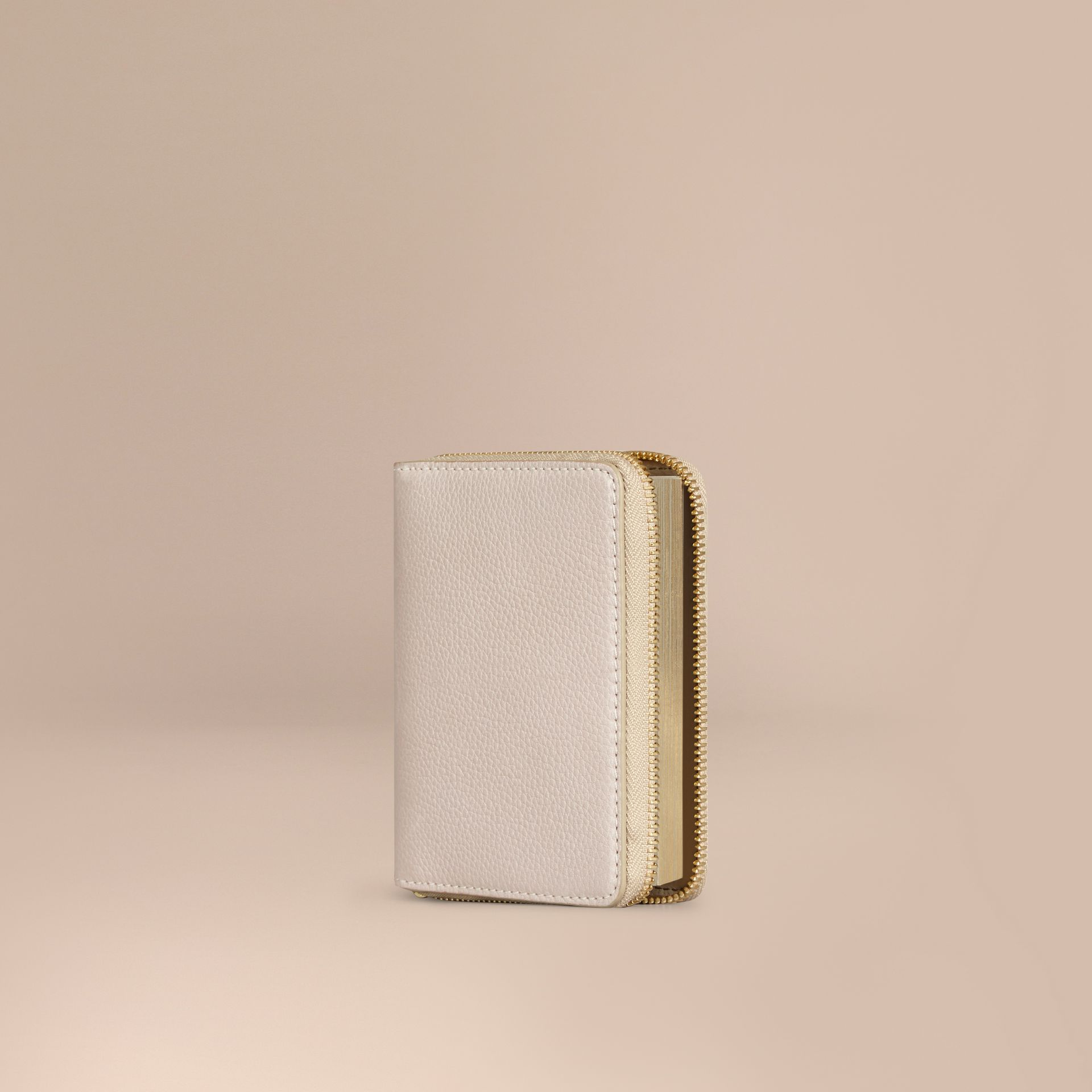 Ziparound Grainy Leather Mini Notebook in Stone | Burberry - gallery image 1