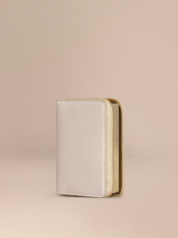 Ziparound Grainy Leather Mini Notebook Stone
