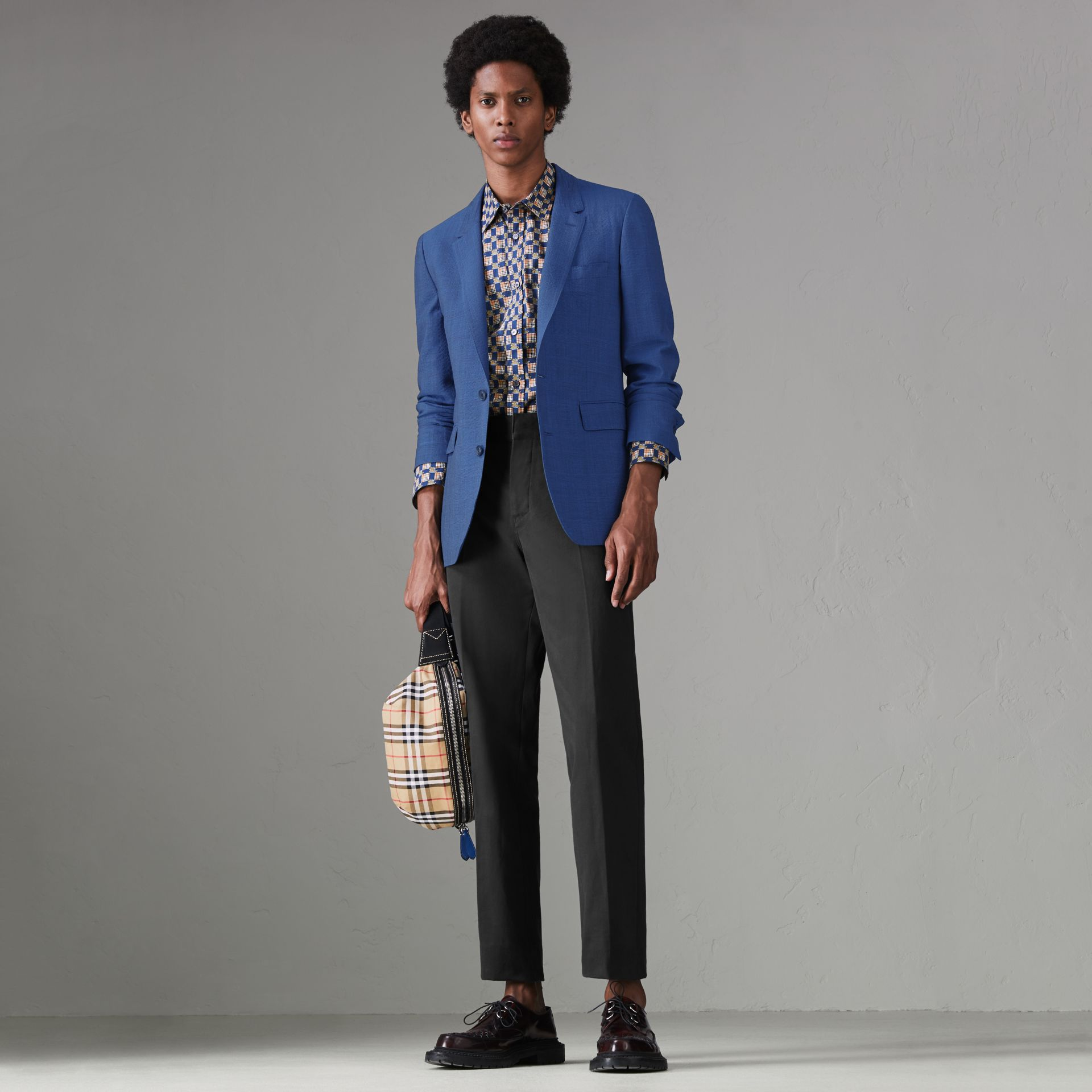 Windowpane Stretch Wool Tailored Jacket in Bright Navy - Men | Burberry Singapore - gallery image 0