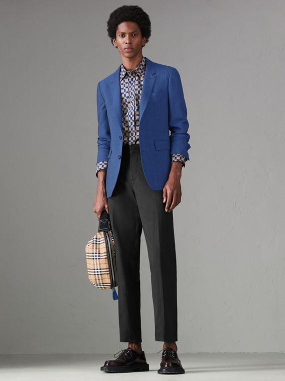 Windowpane Stretch Wool Tailored Jacket in Bright Navy