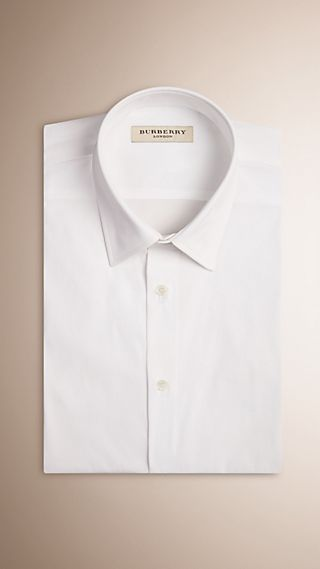 Modern Fit Short-sleeved Stretch Cotton Shirt