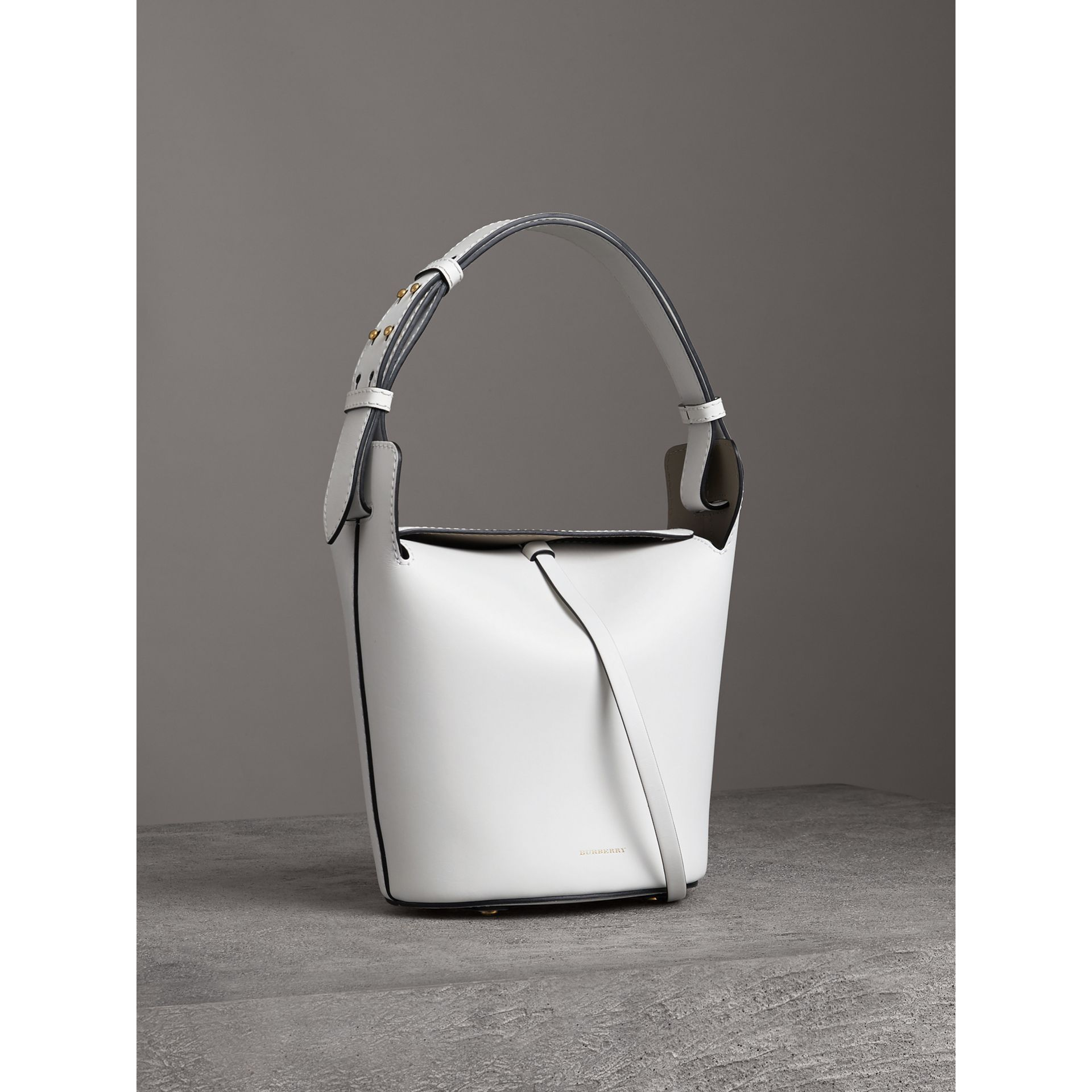 The Small Leather Bucket Bag in Chalk White - Women | Burberry - gallery image 5