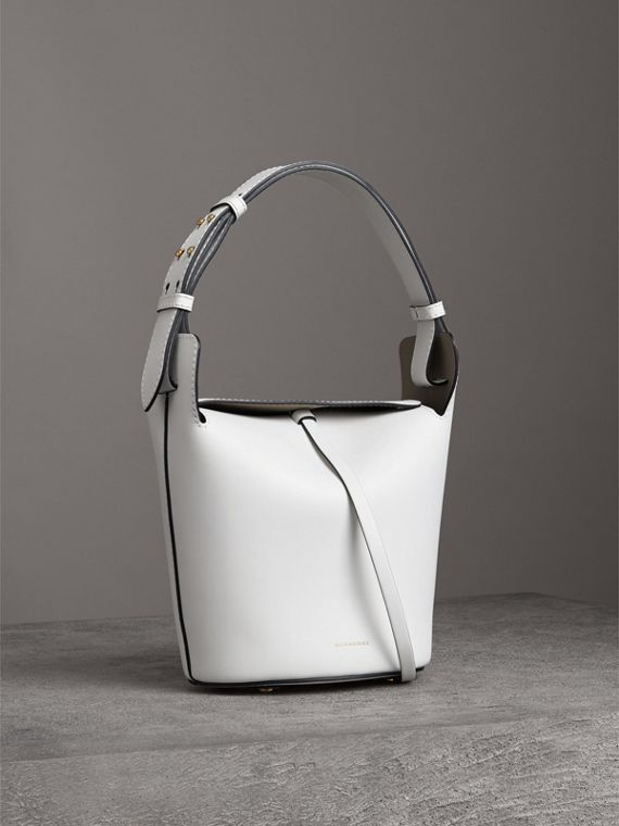 The Small Leather Bucket Bag in Chalk White