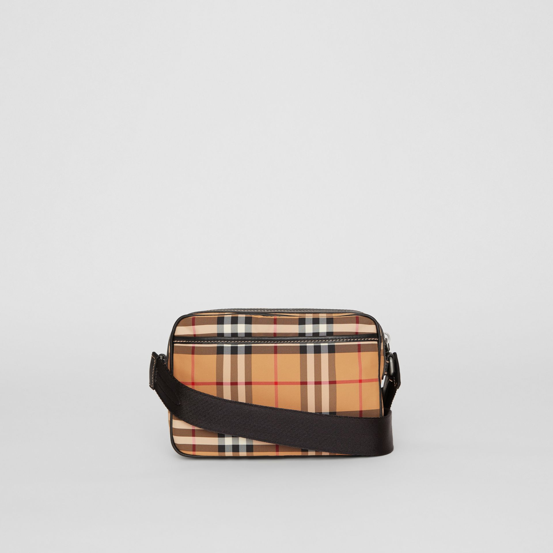 Vintage Check and Leather Crossbody Bag in Antique Yellow - Men | Burberry United States - gallery image 7