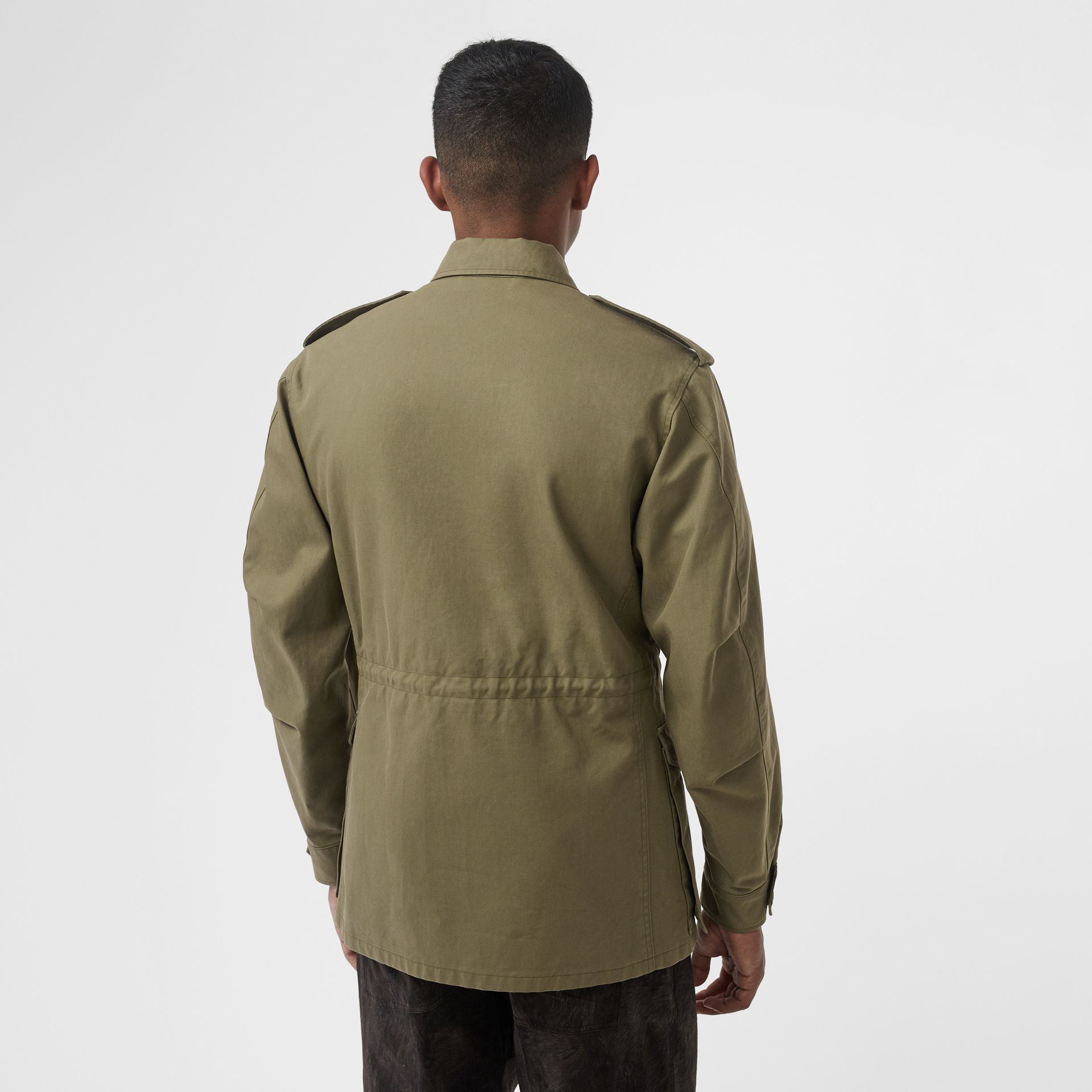 Logo Detail Cotton Field Jacket in Olive - Men | Burberry - gallery image 1