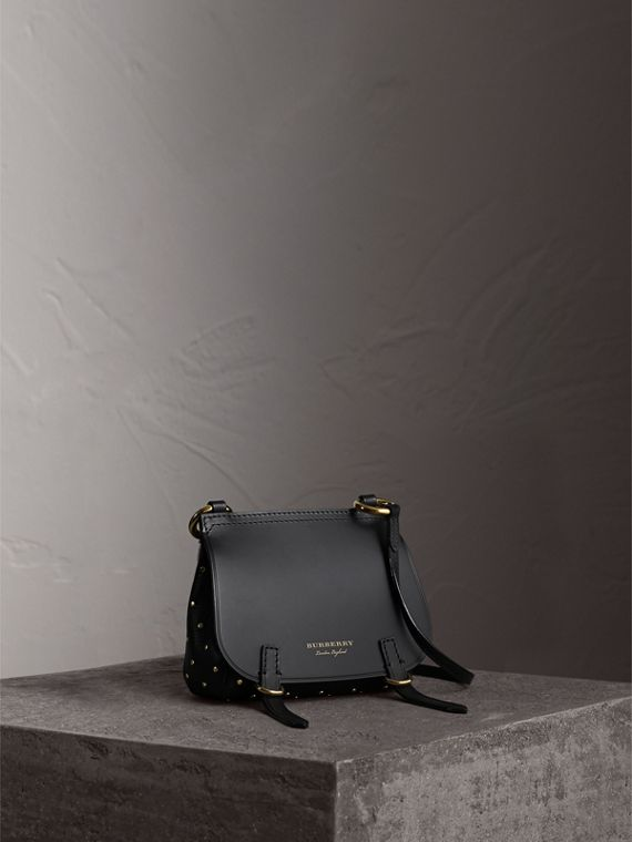 The Baby Bridle Bag in Riveted Leather in Black