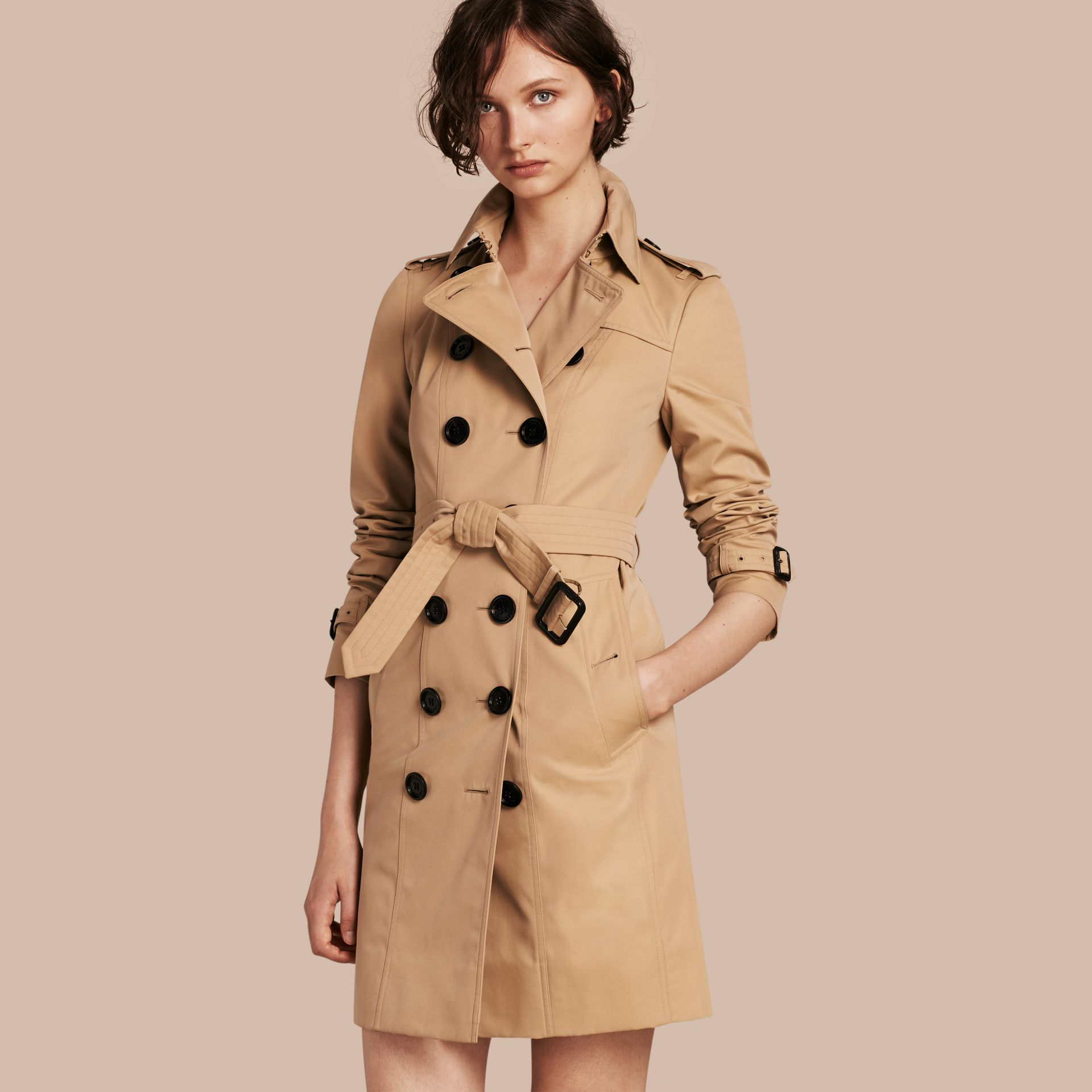 Honey Trench Coat with Check and Heart Lining - gallery image 1