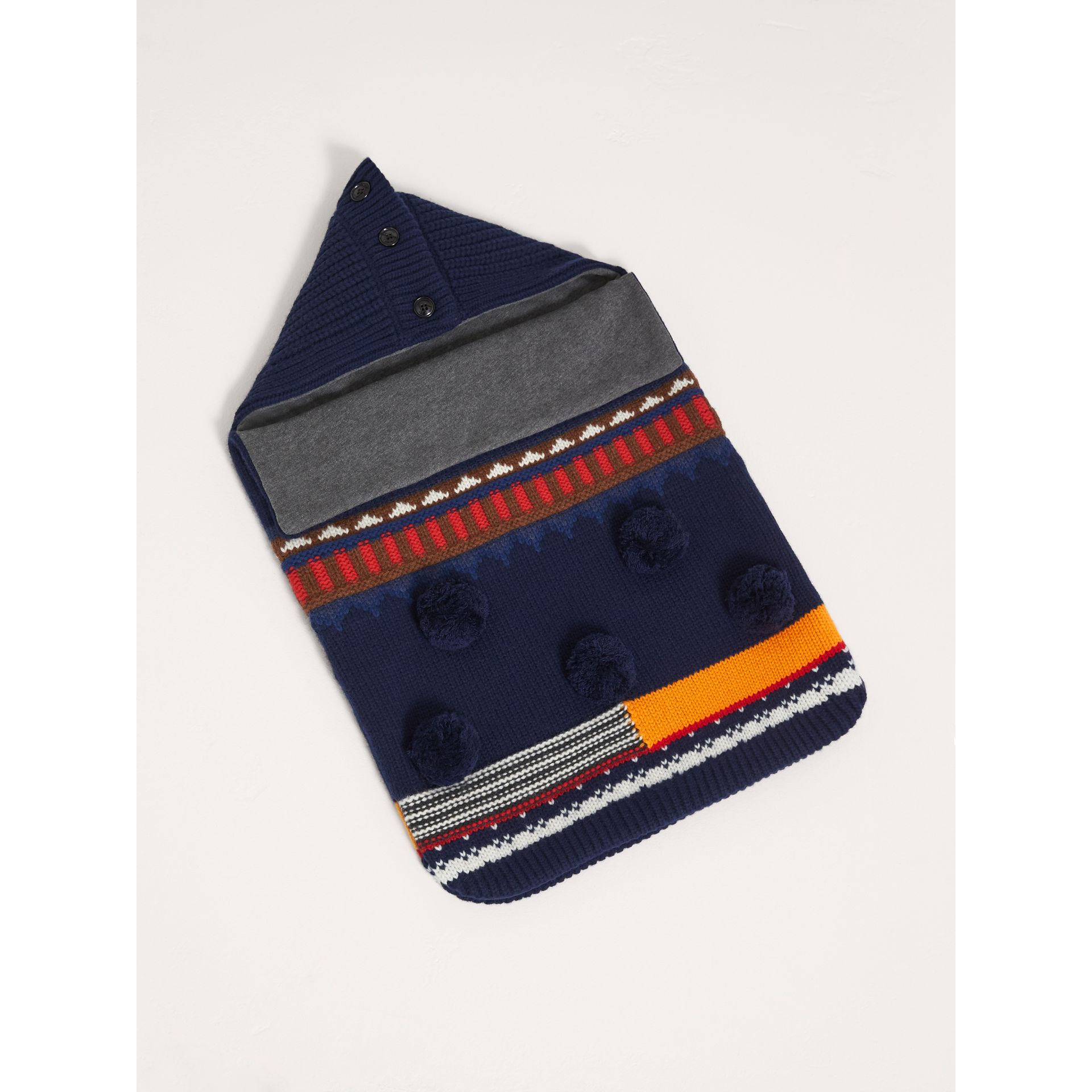 Pom-pom Fair Isle Wool Cashmere Baby Nest in Bright Navy | Burberry - gallery image 0
