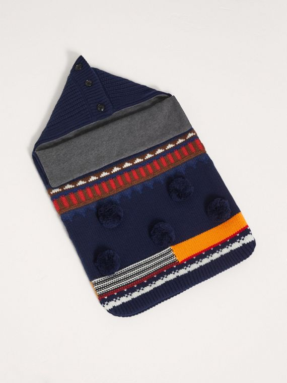Pom-pom Fair Isle Wool Cashmere Baby Nest in Bright Navy