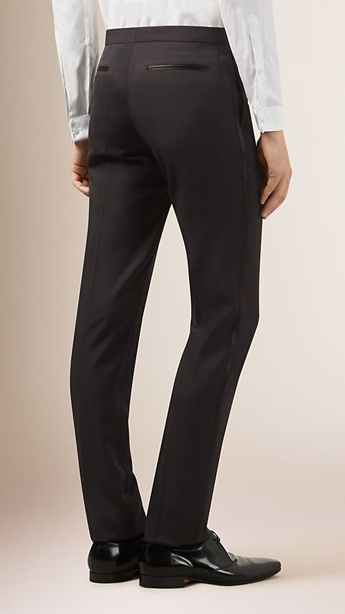 Black Virgin Wool Tuxedo Trousers - Image 2