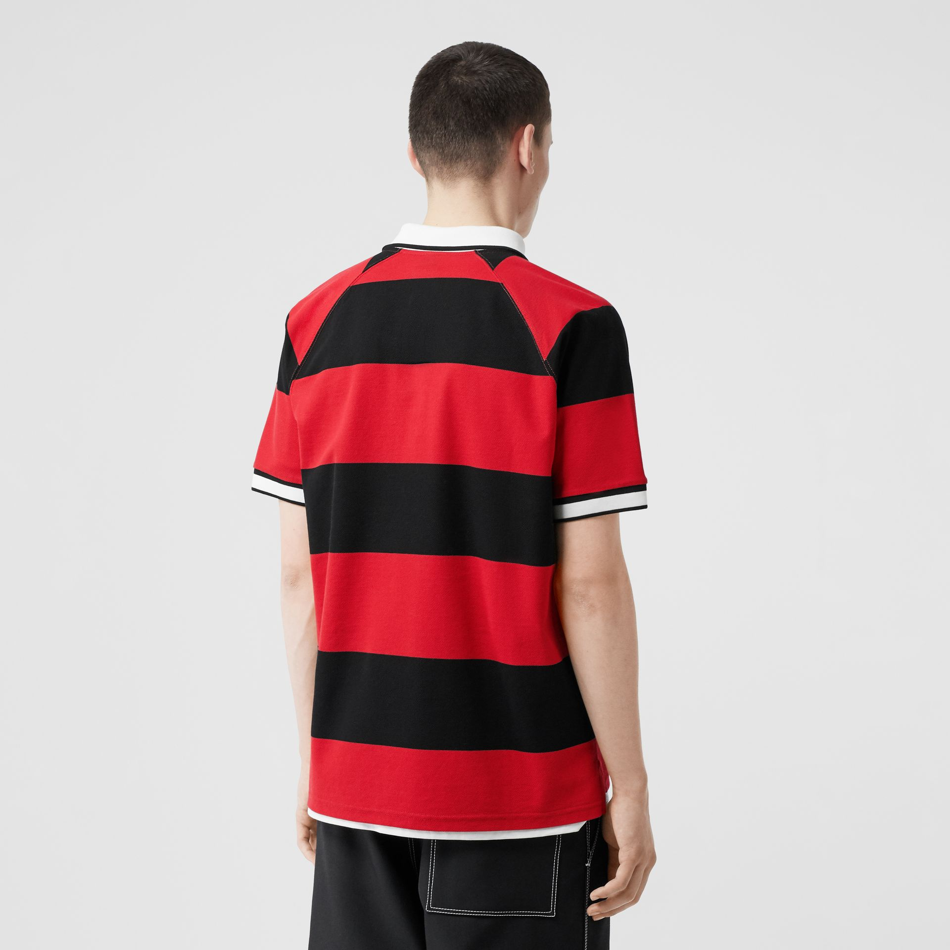 Striped Cotton Piqué Oversized Polo Shirt in Black/bright Red - Men | Burberry Hong Kong S.A.R - gallery image 2