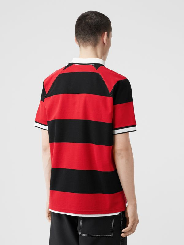 Striped Cotton Piqué Oversized Polo Shirt in Black/bright Red - Men | Burberry Hong Kong S.A.R - cell image 2