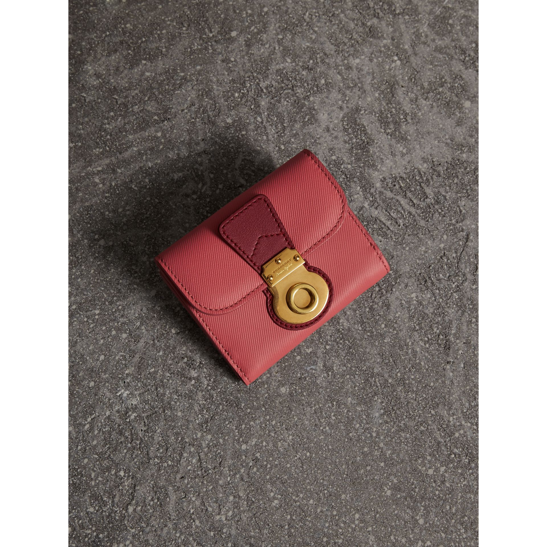 Two-tone Trench Leather Wallet in Blossom Pink/ Antique Red - gallery image 1