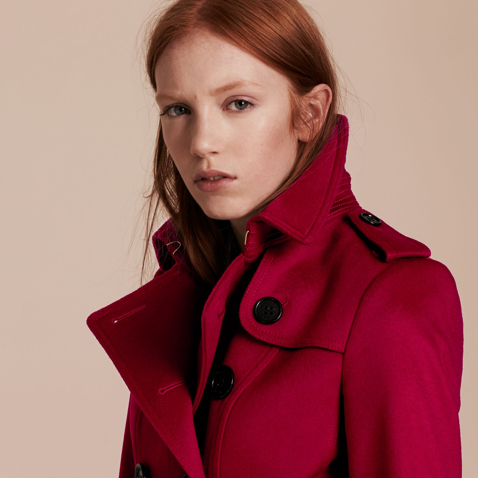Parade red Wool Cashmere Trench Jacket - gallery image 5