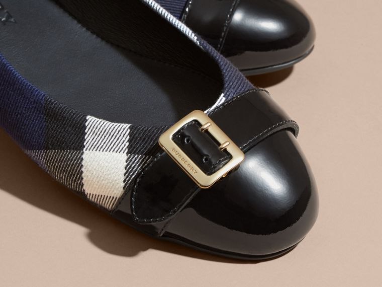 Buckle Detail House Check and Patent Leather Ballerinas in Indigo Blue - cell image 1
