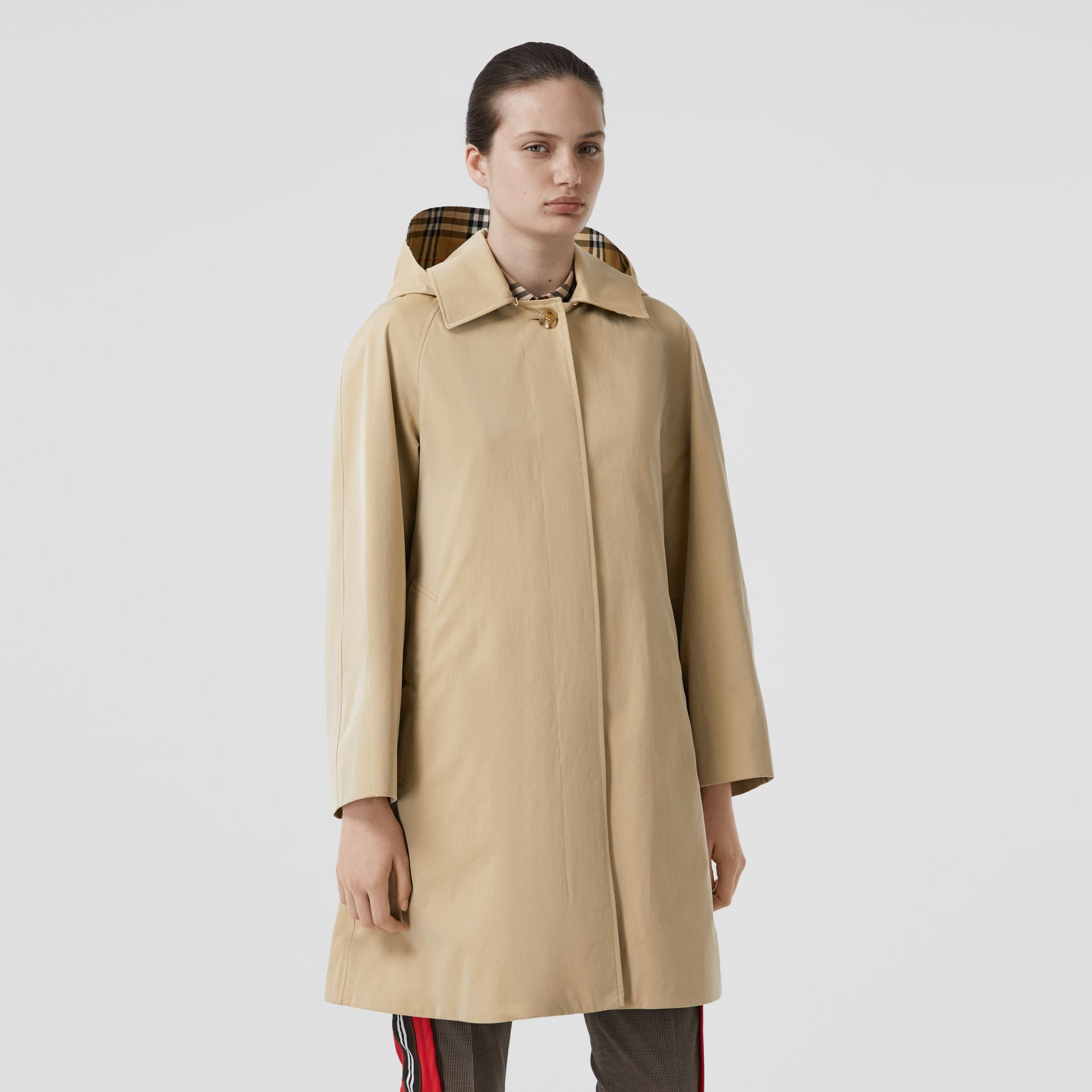 Detachable Hood Tropical Gabardine Swing Coat in Honey - Women | Burberry - gallery image 4