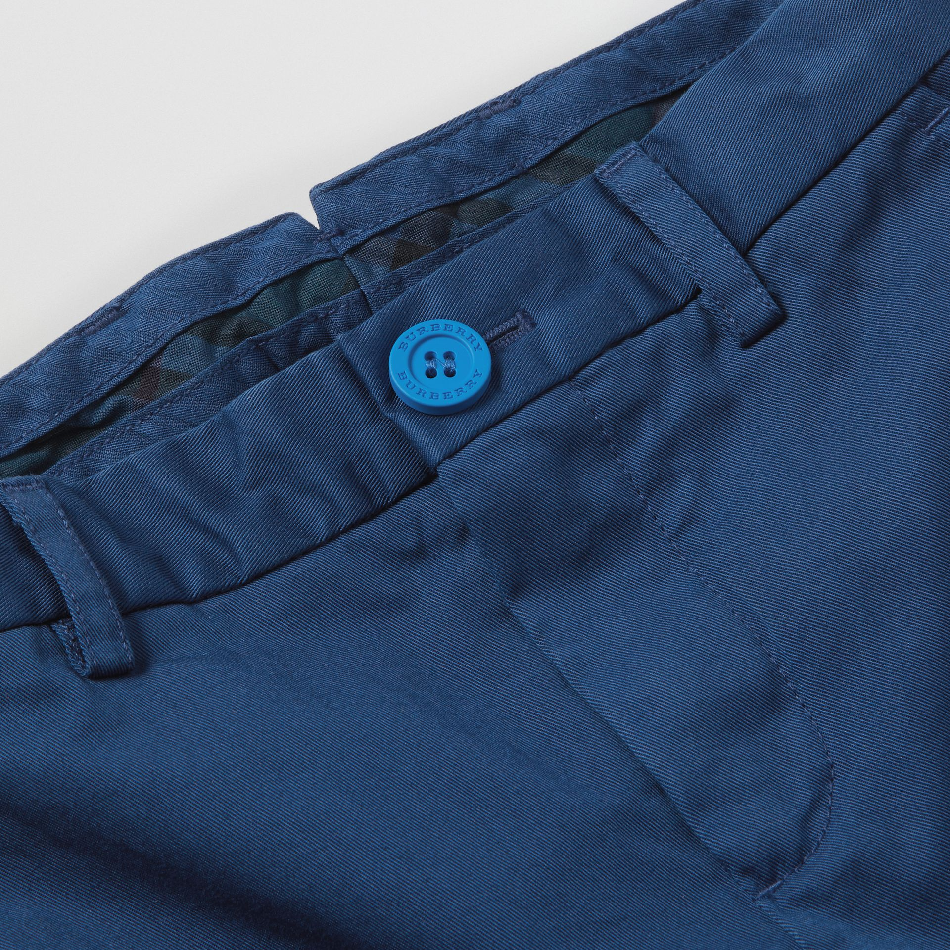 Cotton Chinos in Bright Navy | Burberry United Kingdom - gallery image 1