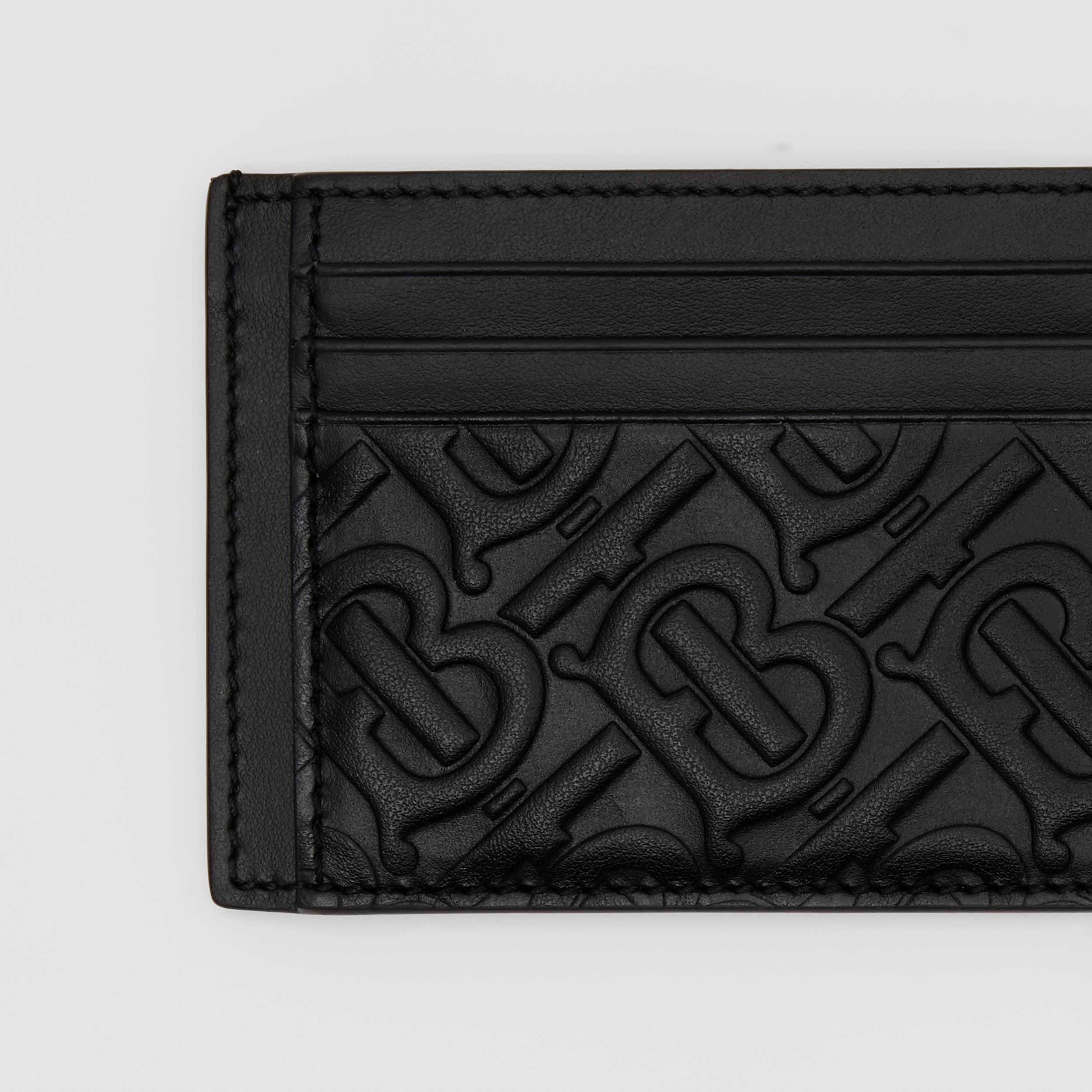 Monogram Leather Card Case in Black - Men | Burberry - 2