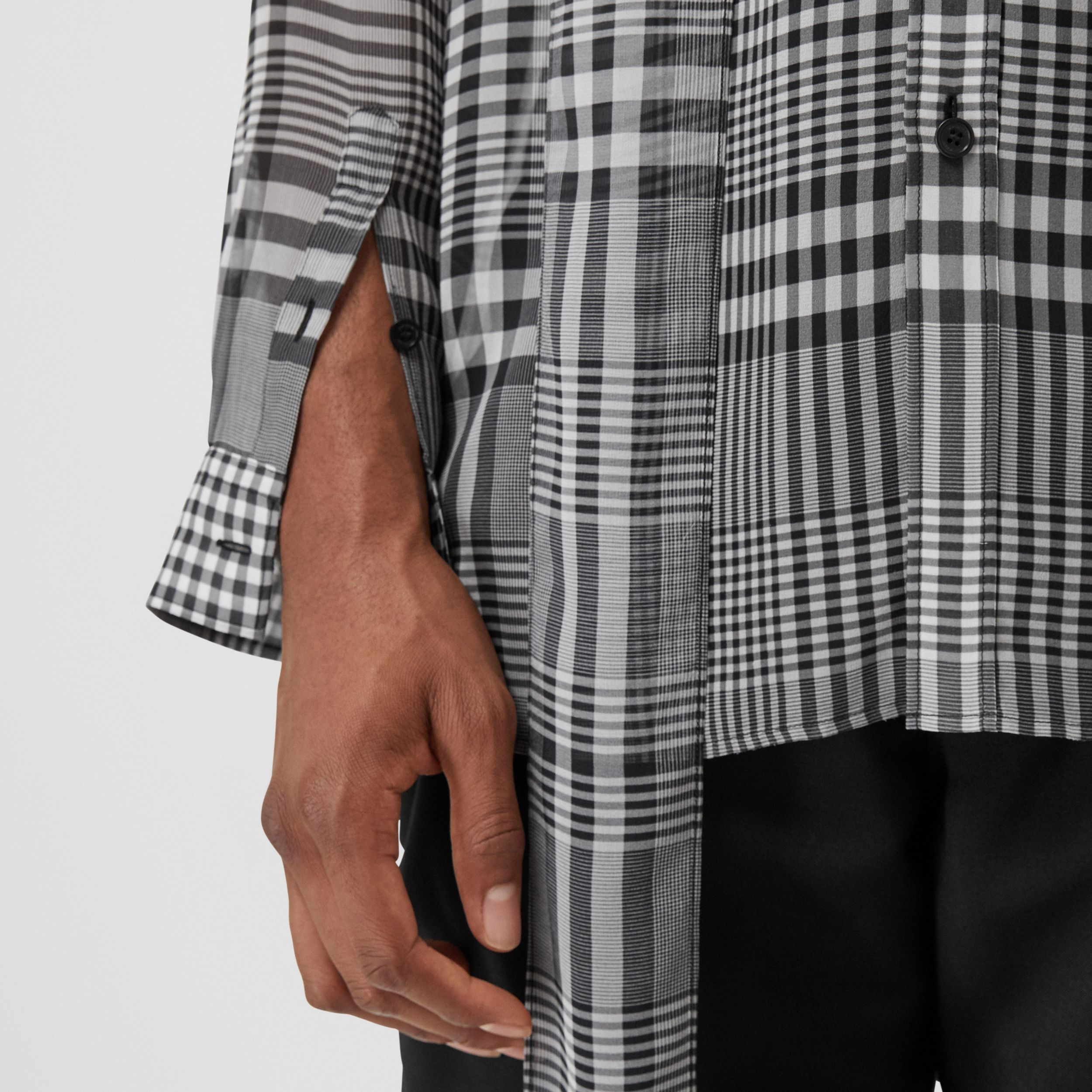 Check Silk Georgette Oversized Tie-neck Shirt in Black - Men | Burberry - 2