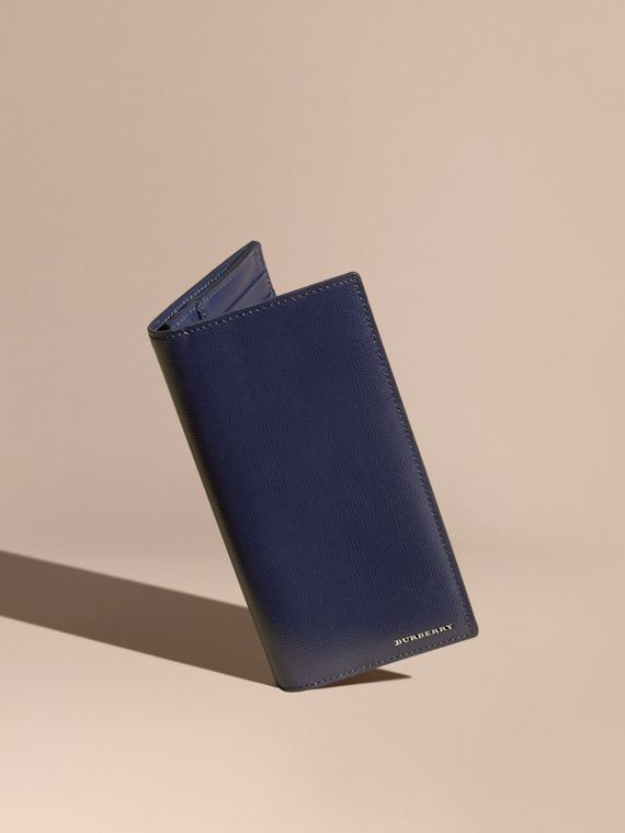 London Leather Continental Wallet in Dark Navy