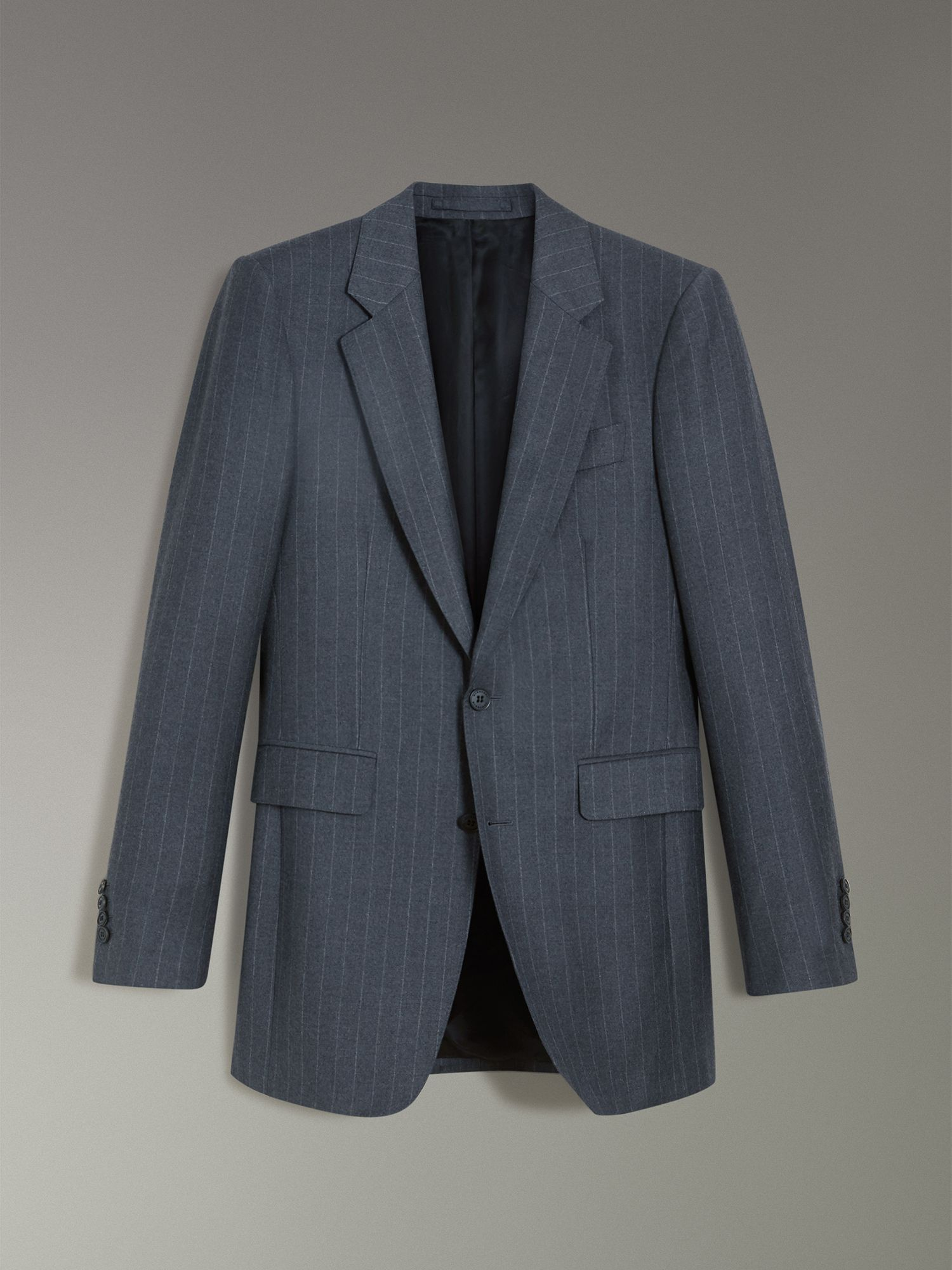 Slim Fit Pinstripe Wool Cashmere Suit in Mid Grey