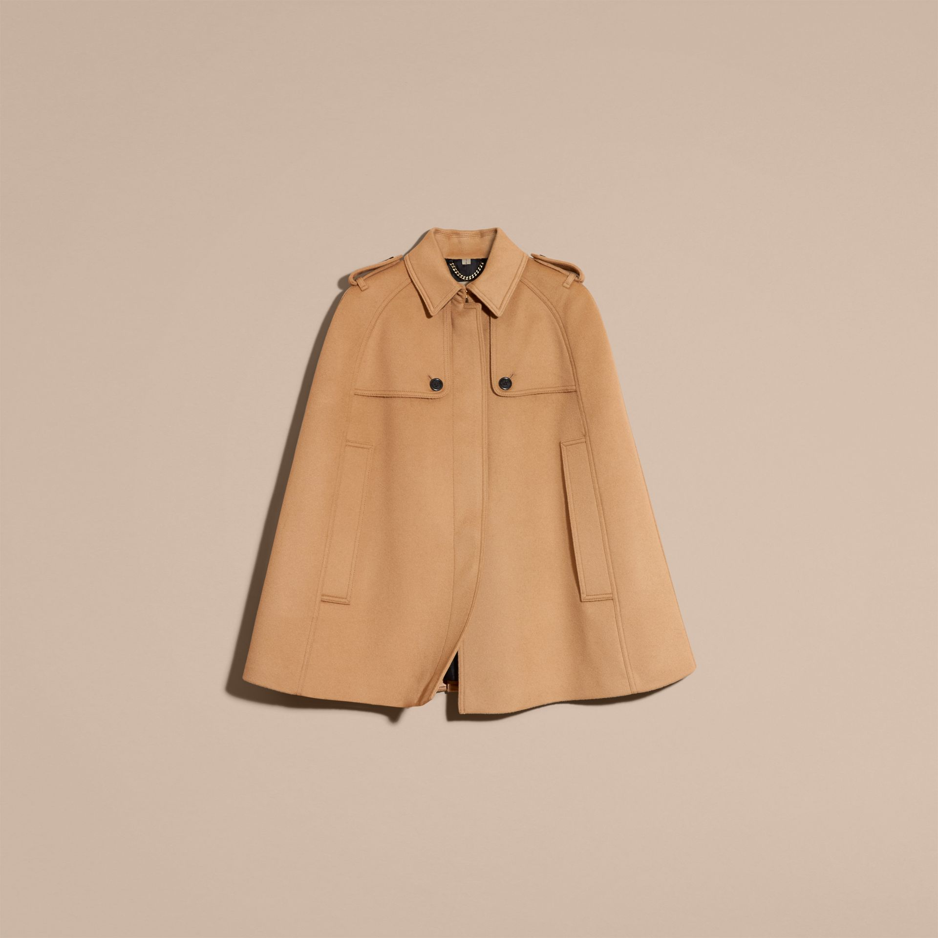 Camel Wool Cashmere Blend Trench Cape - gallery image 4