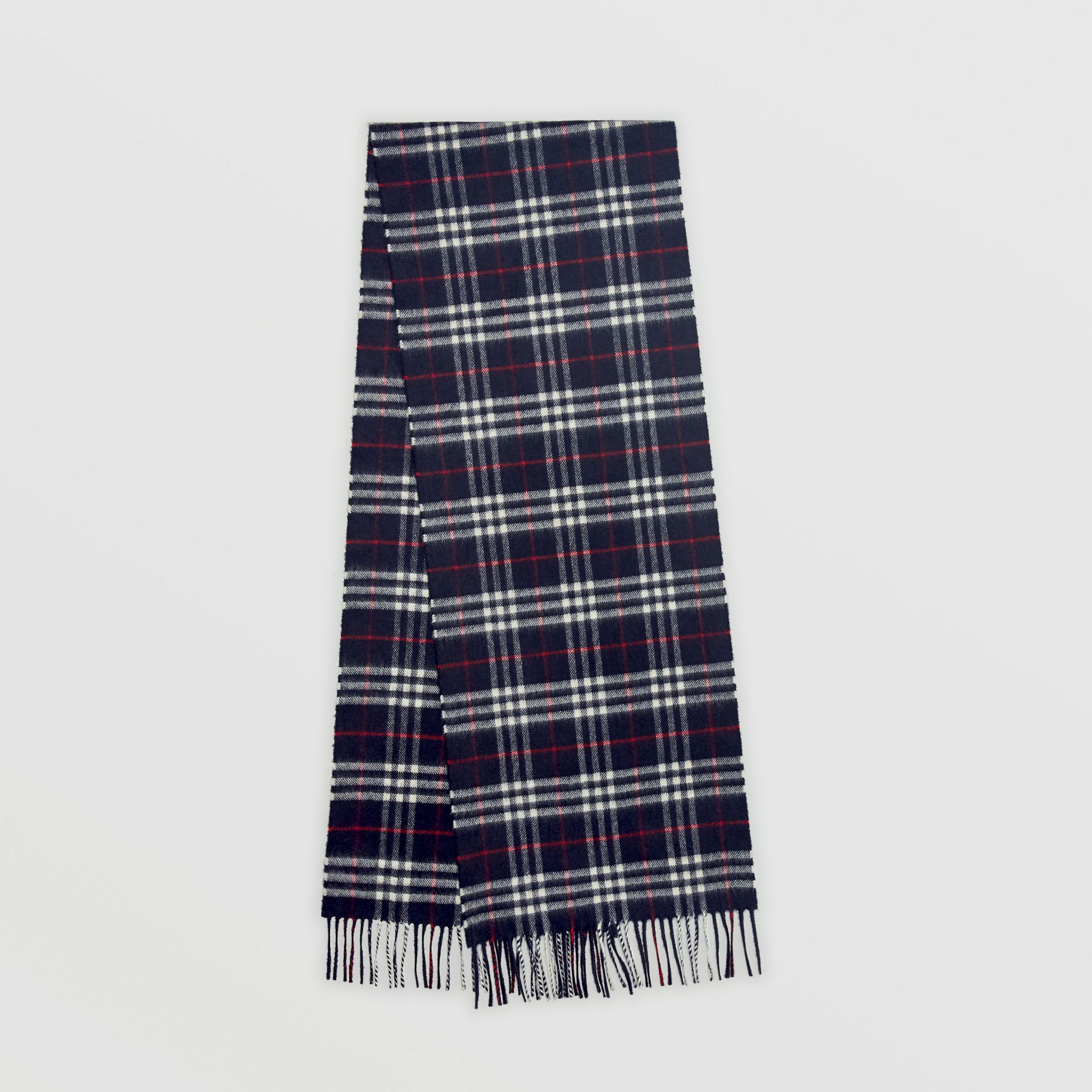 Check Cashmere Scarf in Navy | Burberry - gallery image 6