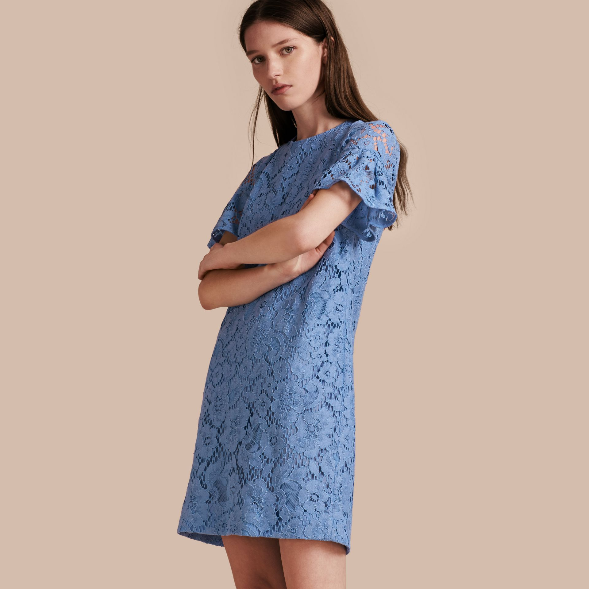 Cornflower Macramé Lace Short Shift Dress with Ruffle Sleeves Cornflower - gallery image 1