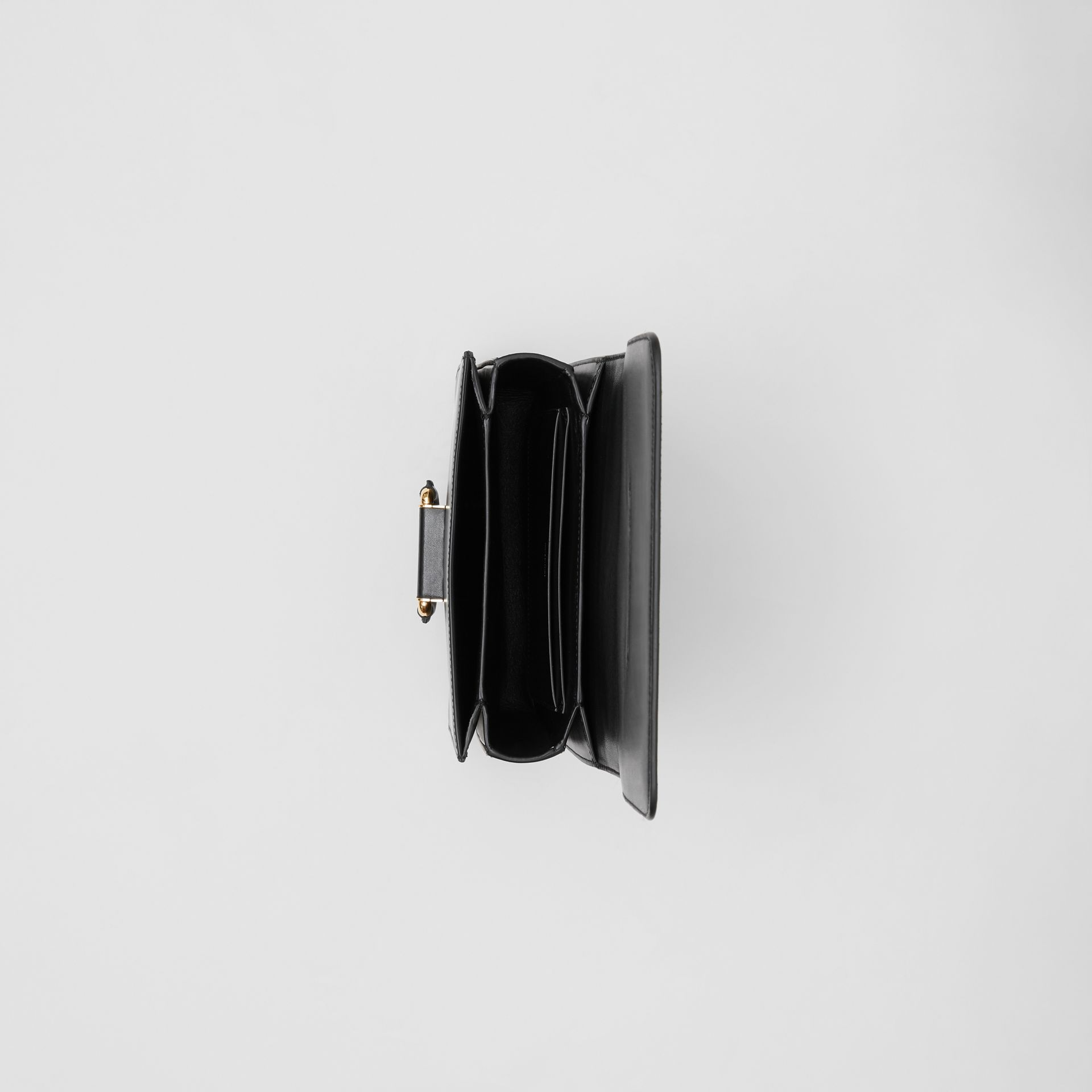 The Small Check Intarsia Leather D-ring Bag in Black - Women | Burberry United Kingdom - gallery image 3