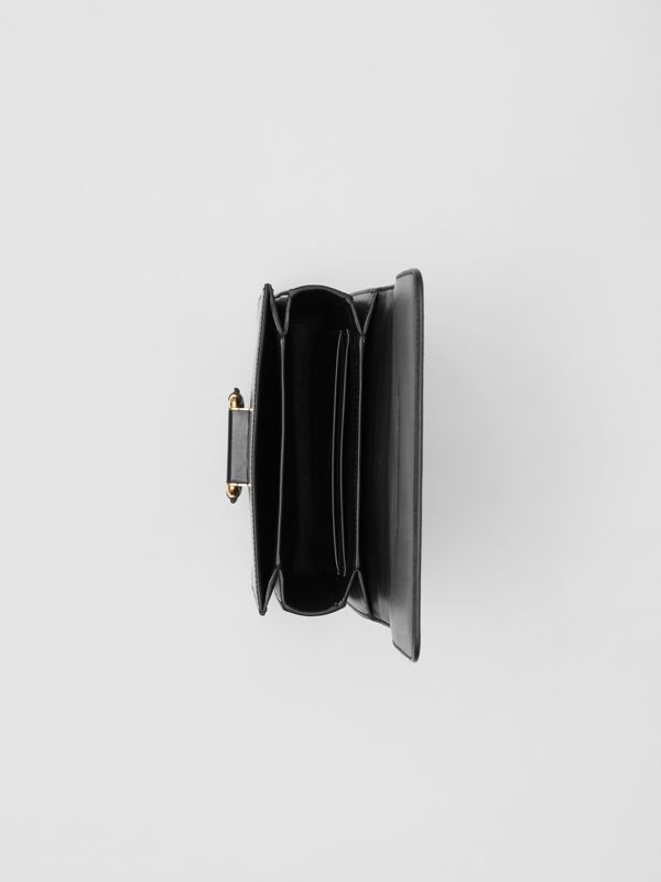 The Small Check Intarsia Leather D-ring Bag in Black - Women | Burberry United Kingdom - cell image 3